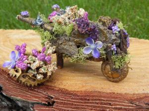 fairy wheelbarrow, bark twig and acorn